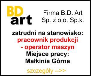 BD Art - pracownik produkcji - operator maszyn