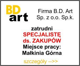 Firma BD ART zatrudni - Specjakista ds zakupów