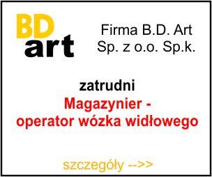 BD-ART - Magazynier/operator wózka widłowego